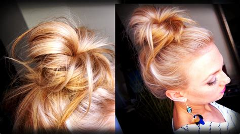 youtube hairstyles messy buns hair how to messy topknot bun youtube