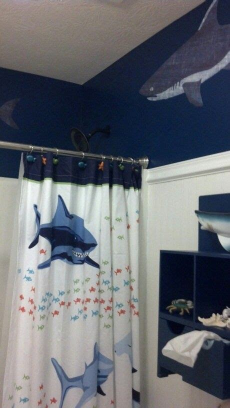 shower curtain  pottery barn boys shark bathroom
