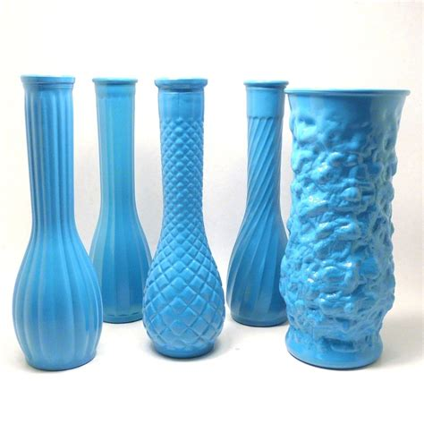 Turquoise Vases For Wedding by Milk Glass Vases Shabby Chic Wedding Decor Turquoise