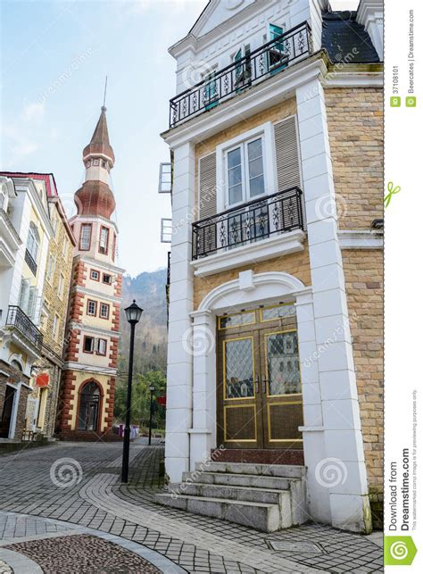 european styles european style buildings along sloped street stock image