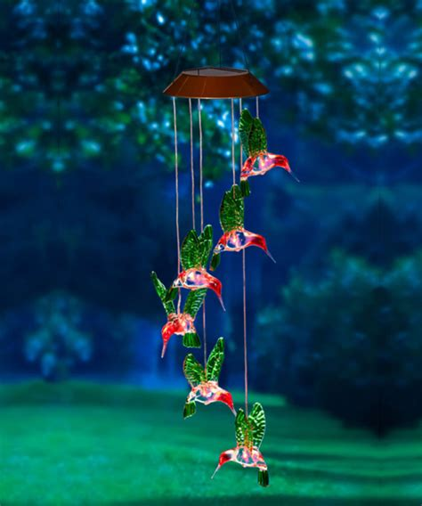 solar hummingbird light hummingbird painted solar mobile and wind chime