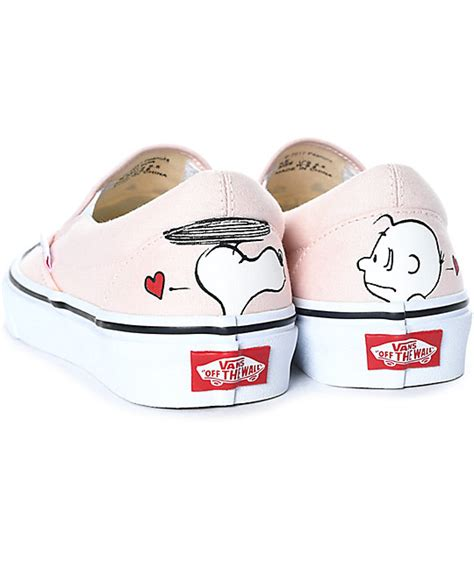 Vans Slip On Smack Pink X Peanuts Snoopy Original Bnib vans x peanuts slip on smack pearl skate shoes zumiez