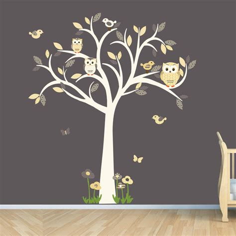 owl tree wall sticker owl decal owl tree wall sticker goldish yelllow grey owl