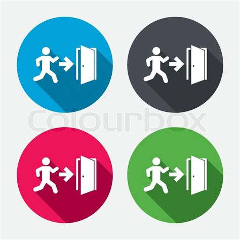 emergency exit icons door with arrow sign stock vector emergency exit with human figure sign icon door with