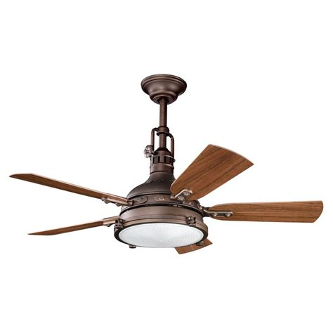 Outdoor Ceiling Fan With Light Shop Kichler Hatteras Bay Patio 44 In Weathered Copper Indoor Outdoor Downrod Or Mount