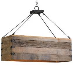 Rustic Island Lighting Rustic Lodge Rectangular Wood Cart 3 Light Island Pendant Kathy Kuo Home