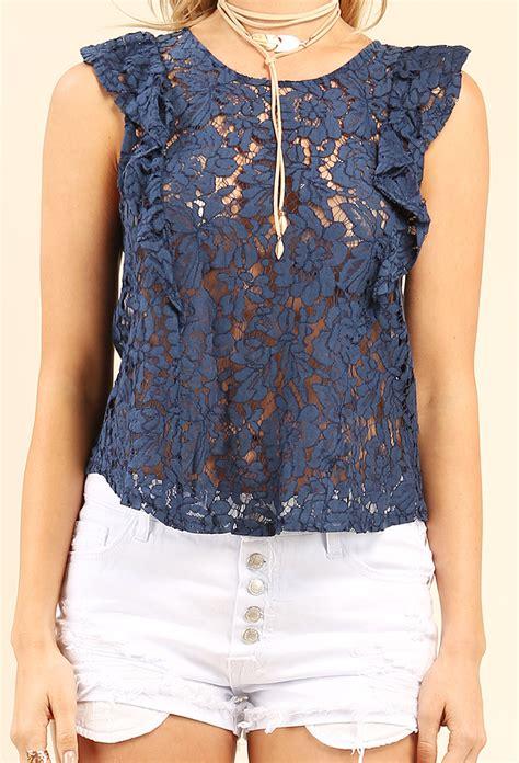 Sleeve Sheer Lace Top sheer lace ruffled cap sleeve top shop tops at papaya