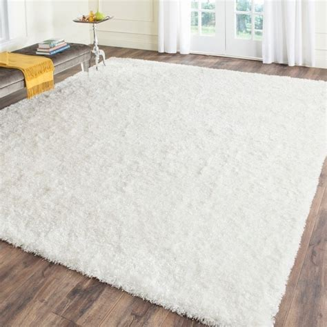 white fluffy rugs for sale safavieh handmade malibu shag white polyester rug 8 6 x 12 free shipping today overstock