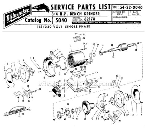 bench grinder parts milwaukee 5040 parts list and diagram ser 62178