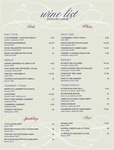 free wine list template wine list template playbestonlinegames