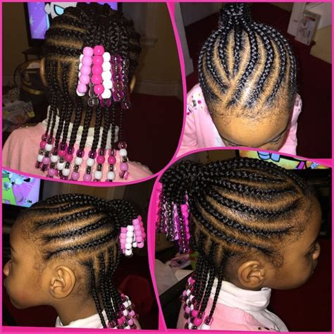 girl hairstyles with beads cornrows with clear pink and white beads for little girls