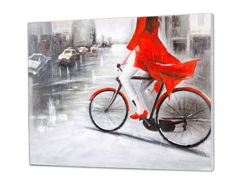 cuadros de bici cuadro al ol 233 o mujer de rojo en bicicleta
