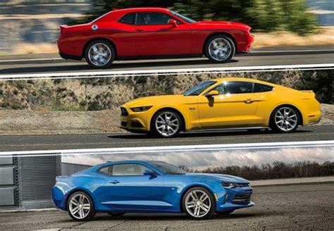 ford mustang vs chevy camaro vs dodge challenger car