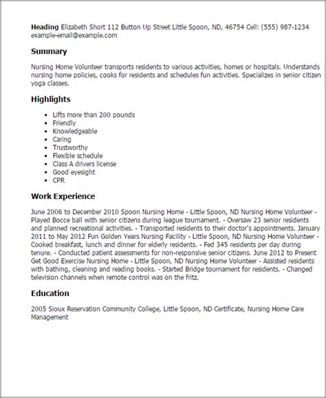 Resume Nursing Home Professional Nursing Home Volunteer Templates To Showcase Your Talent Myperfectresume