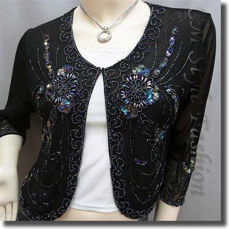 beaded bolero beaded sequin embroidered evening bolero shrug top black s