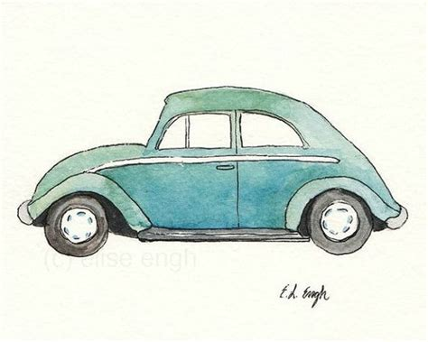 blue volkswagen beetle vintage watercolor blue green vintage volkswagen beetle car