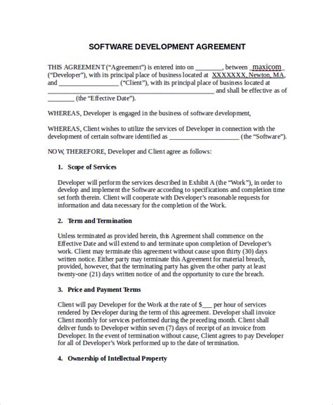 sle software development agreement template 9 free