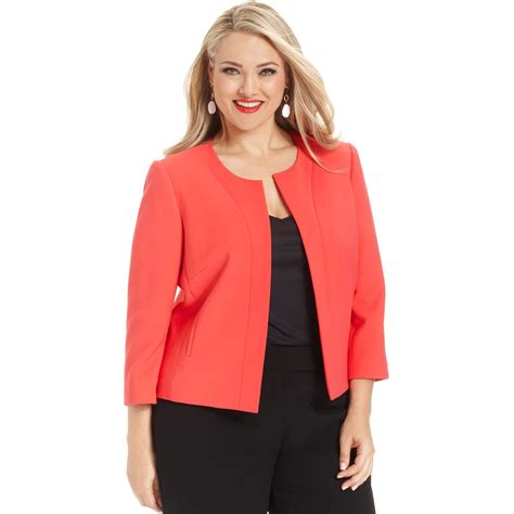 swing jacket plus size tahari by asl plus size collarless swing jacket in orange
