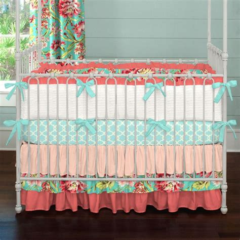Coral And Teal Floral 2 Piece Crib Bedding Set Carousel Teal Crib Bedding Sets