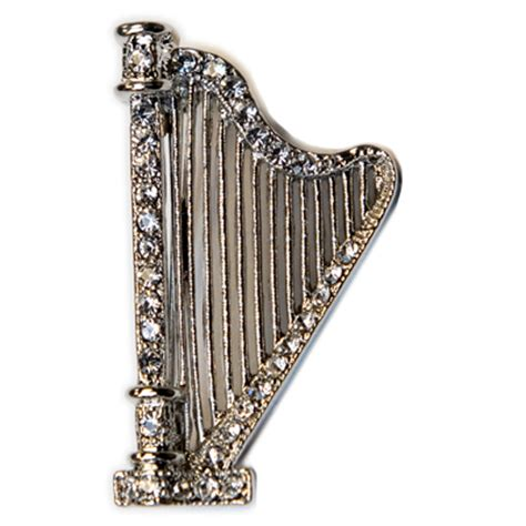 Silver L Harp silver harp with austrian crystals pin jewelry met