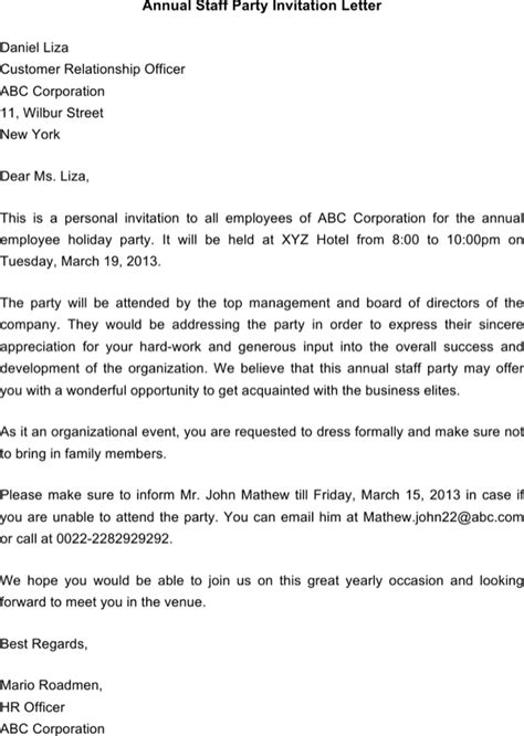 Invitation Letter For Staff Meeting Free Annual Staff Invitation Letter Template For Docx Pdf