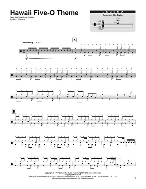 theme song hawaii five o hawaii five o theme sheet music by the ventures drums