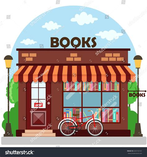 ebook libreria bookshop bookstore building facade row books stock vector