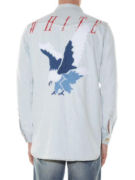 White Denim Shirt by Lyst White C O Virgil Abloh Eagle Embroidered Denim Shirt In Blue For