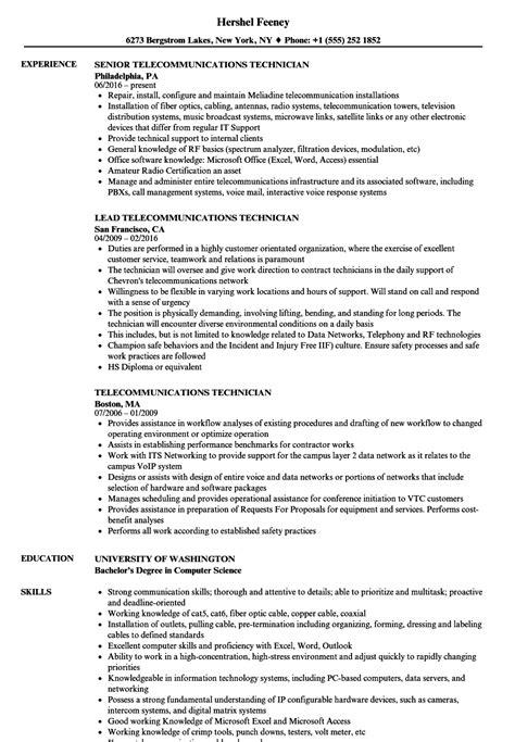 telecommunications specialist sle resume sle resume