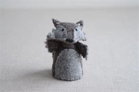felt wolf pattern the wolf finger puppet sewing pattern diy mini plushie
