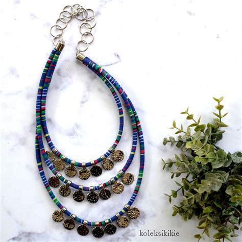 Kalung Tenun Etnik kalung tenun dyandra biru koleksikikie