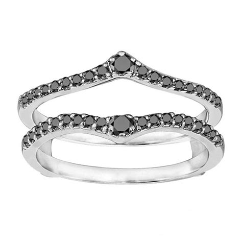 ring guard with black and white diamonds for a two carat