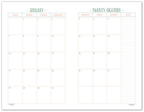 blank 2 page per month calendar half size green blue all the basics for setting up your 2018 planner