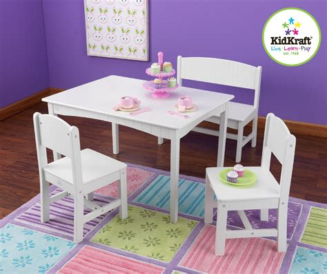 kidkraft bench kidkraft nantucket table with bench 2 chairs white