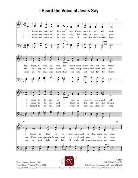 house music i heard you say i heard the voice of jesus say hymnary org