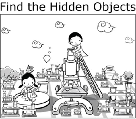 printable science hidden pictures kids and science coloring page