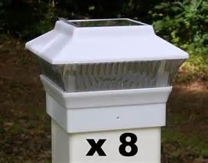fence post solar lights 8 white solar light fence post caps for 4x4 pvc vinyl