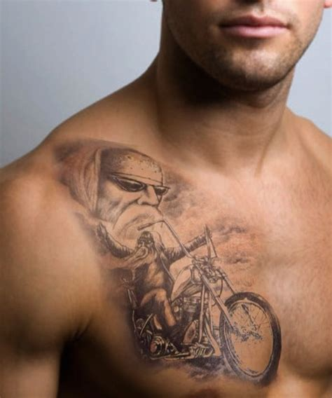 biker tattoo designs biker motorcycle on chest
