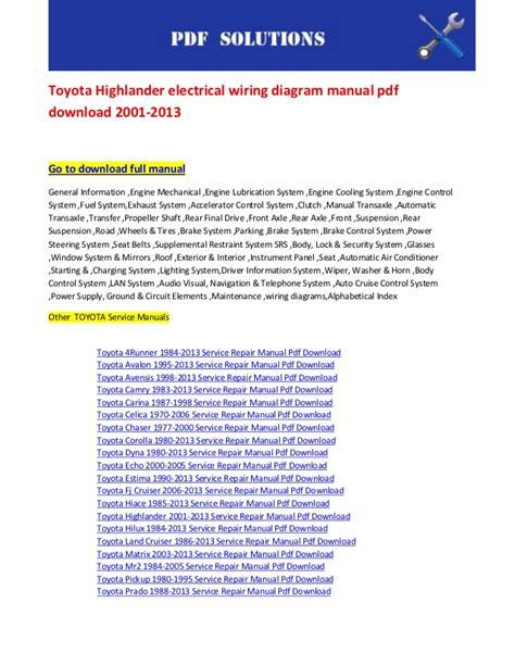 toyota highlander electrical wiring diagram manual pdf