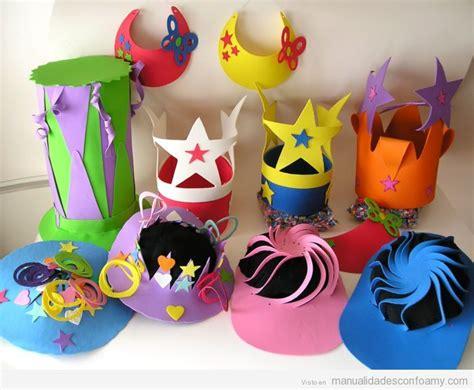 sombreros divertidos de mujer como hacerlos de goma eva coronas sombreros y viseras hechos con foamy