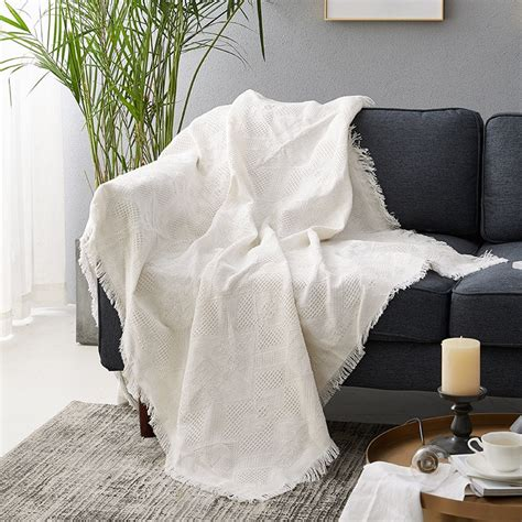 White Throws For Sofas by Cilected White Solid Plaids Cotton Throw Blankets For Sofa