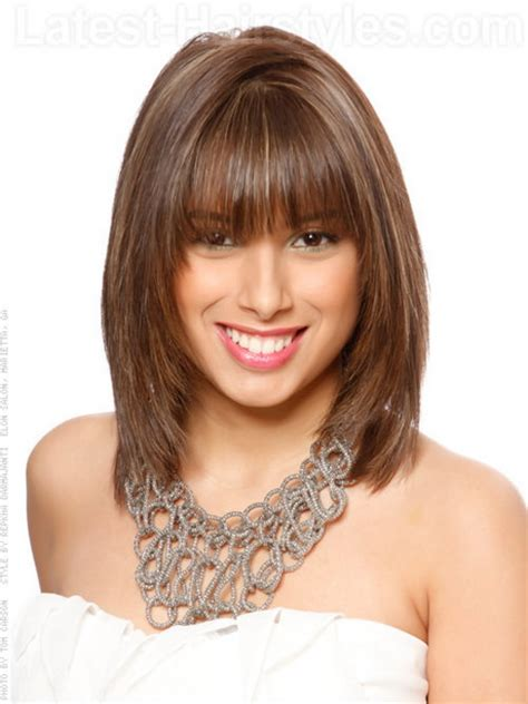 hairstyle for below the shoulder shoulder length haircut with bangs