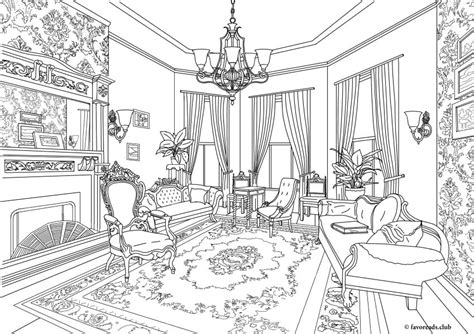 home design coloring book authentic architecture victorian living room printable