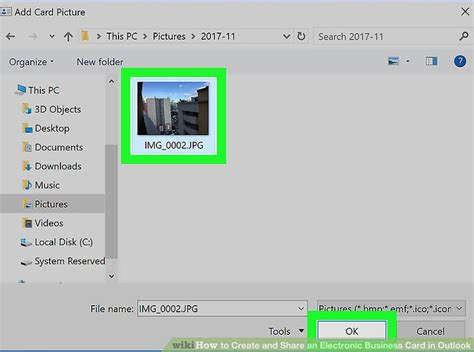 Create Business Card In Outlook