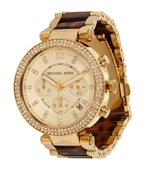 Michael Kors Women'S Chronograph Parker Tortoise And Gold Tone Stainless Steel Bracelet Watch