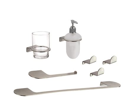Loft Single Hook Bathroom Accessories Kit Made With Brushed Stainless Steel Bathroom Accessories
