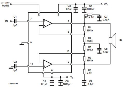 tda7265 lifier circuit diagram tda7265 typical application reference design audio power