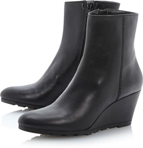 dune panthers cleated outsole wedge ankle boots in black