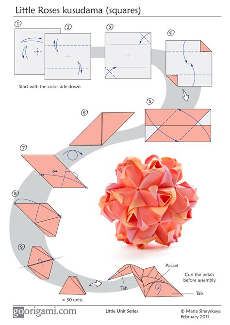 Origami Diagrams - roses kusudama diagram
