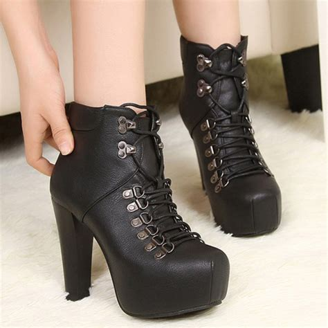 black high heels ankle boots